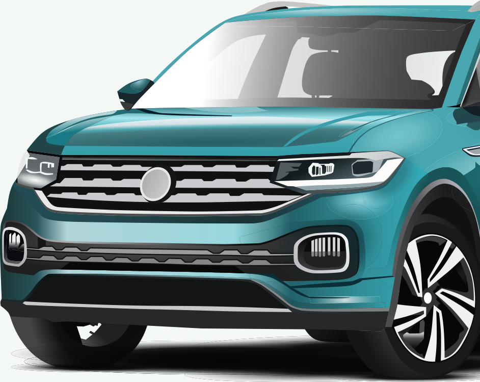 New teal car with comprehensive insurance